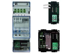 Активаторы для установки на DIN-рейку. Существуют в версиях с 1,2 и 4 реле для одиночных и двойных нагрузок (двигатель жалюзи). Эти устройства также снабжены тестовыми кнопками для проверки их работы.